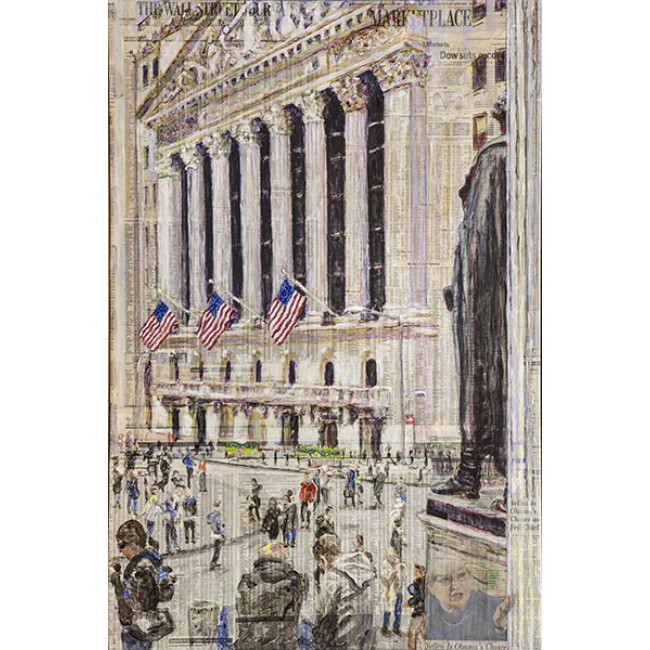 George Looking Over NYSE 36x24 Acrylic on WSJ