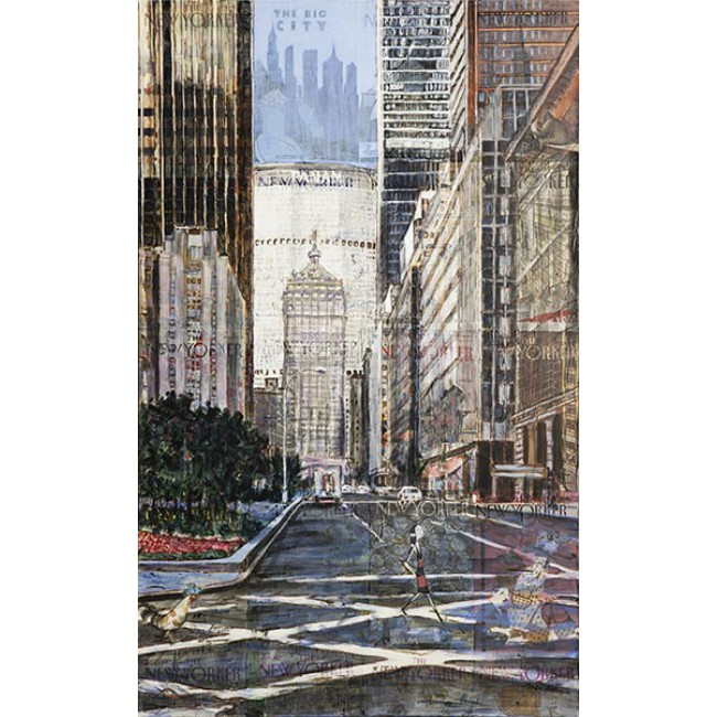 Park Ave 48x30 Acrylic on New Yorker Covers