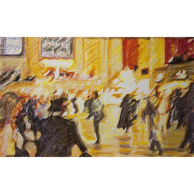 Rush Hour Grand Central Station 30x48 Acrylic on Canvas