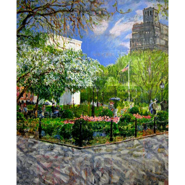 Washington Square 60 x 48 Acrylic on New Yorker Covers
