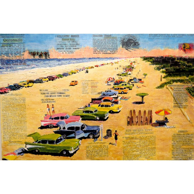 Looking South on the World's Safest Beach 24 x 36 Mixed Media