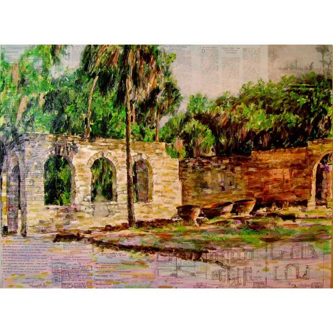 Sugar Mill Ruins 30 x 40 Mixed Media